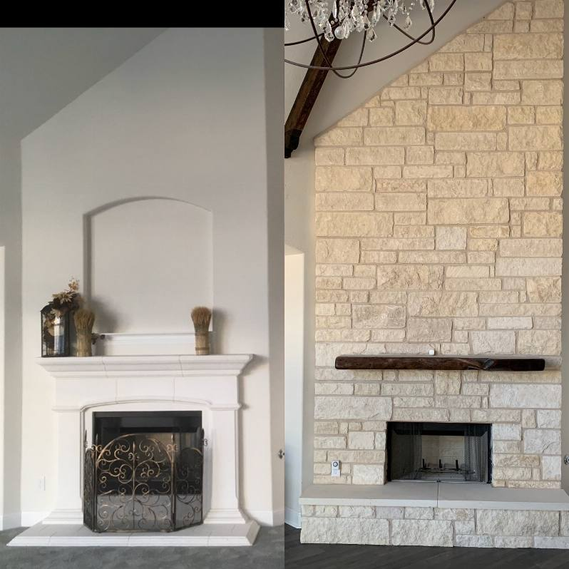Before and after limestone rock chimney